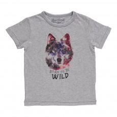 T-Shirt Loup Wild  Gris chiné