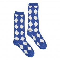 Chaussettes Hautes Losanges Diamonds Bleu roi