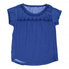 T-shirt Détails Brodés Texan Bleu roi