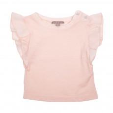 T-Shirt Volants Epaules Rose pâle