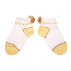Chaussettes Bicolores Pompon Jaune pâle