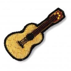 Broche Brodée en Coton Guitare Doré
