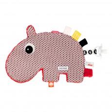 Doudou attache-sucette Ozzo l'hippo Rose