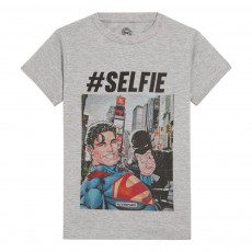 T-Shirt Selfie Batman et Superman Seldc Gris chiné