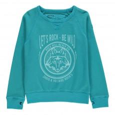 Sweat Loup Anto Bleu turquoise
