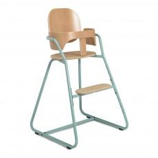 Chaise haute évolutive en bois et métal Bleu turquoise