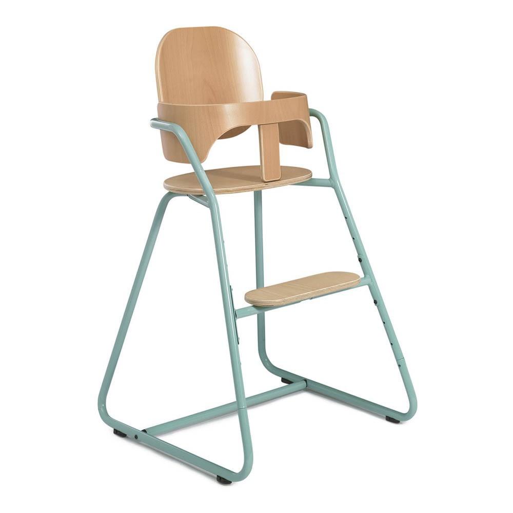 Chaise haute volutive en bois et m tal bleu turquoise for Chaise haute bois evolutive