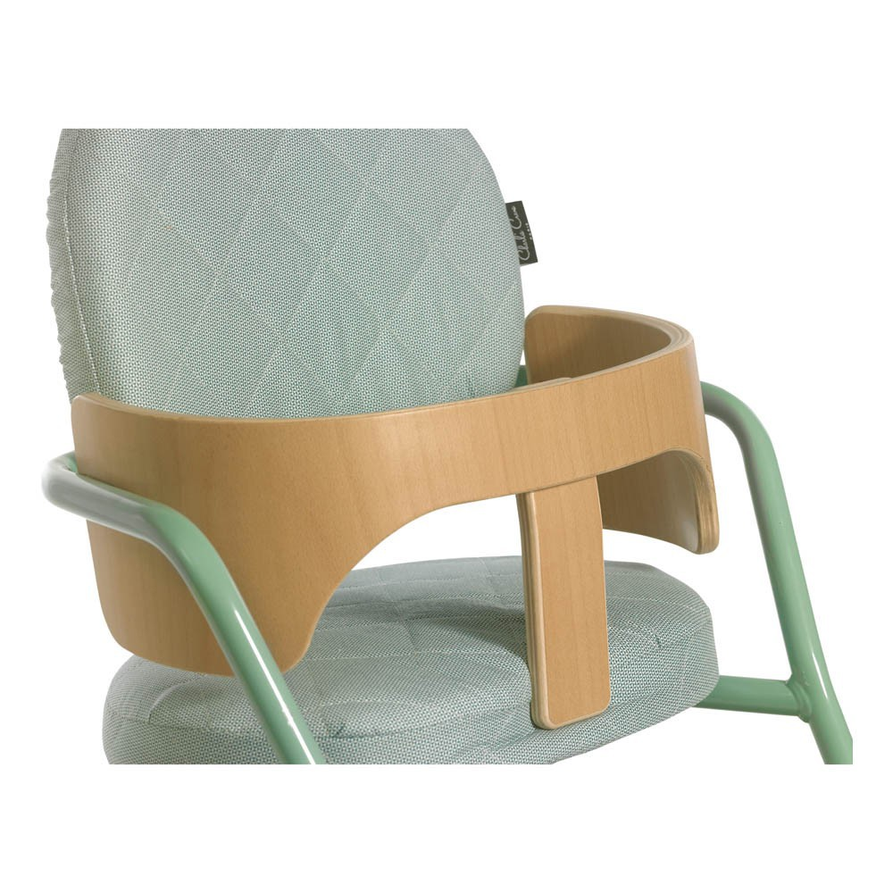 chaise haute volutive en bois et m tal bleu turquoise. Black Bedroom Furniture Sets. Home Design Ideas