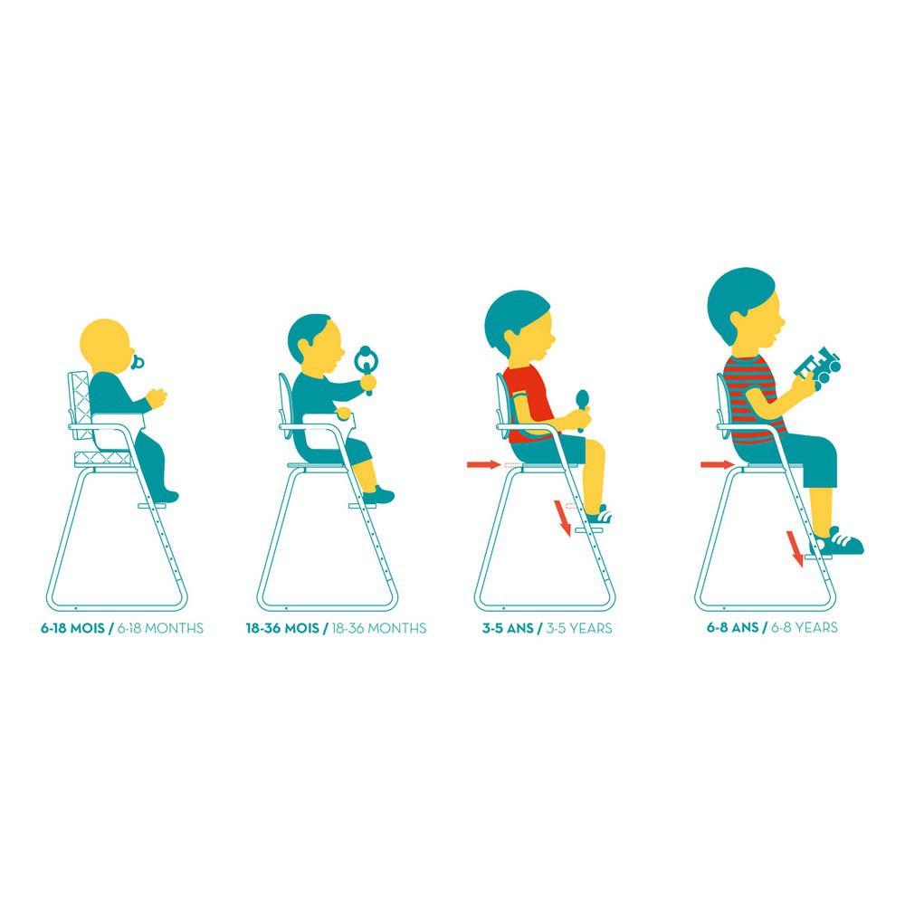 Chaise Haute Bois Evolutive : Chaise haute ?volutive en bois et m?tal Bleu turquoise Charlie Crane
