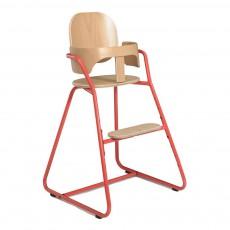 Chaise haute évolutive en bois et métal Rose