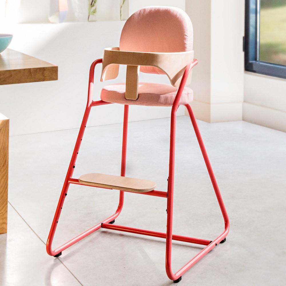 chaise haute volutive en bois et m tal rouge charlie crane univers b b smallable. Black Bedroom Furniture Sets. Home Design Ideas