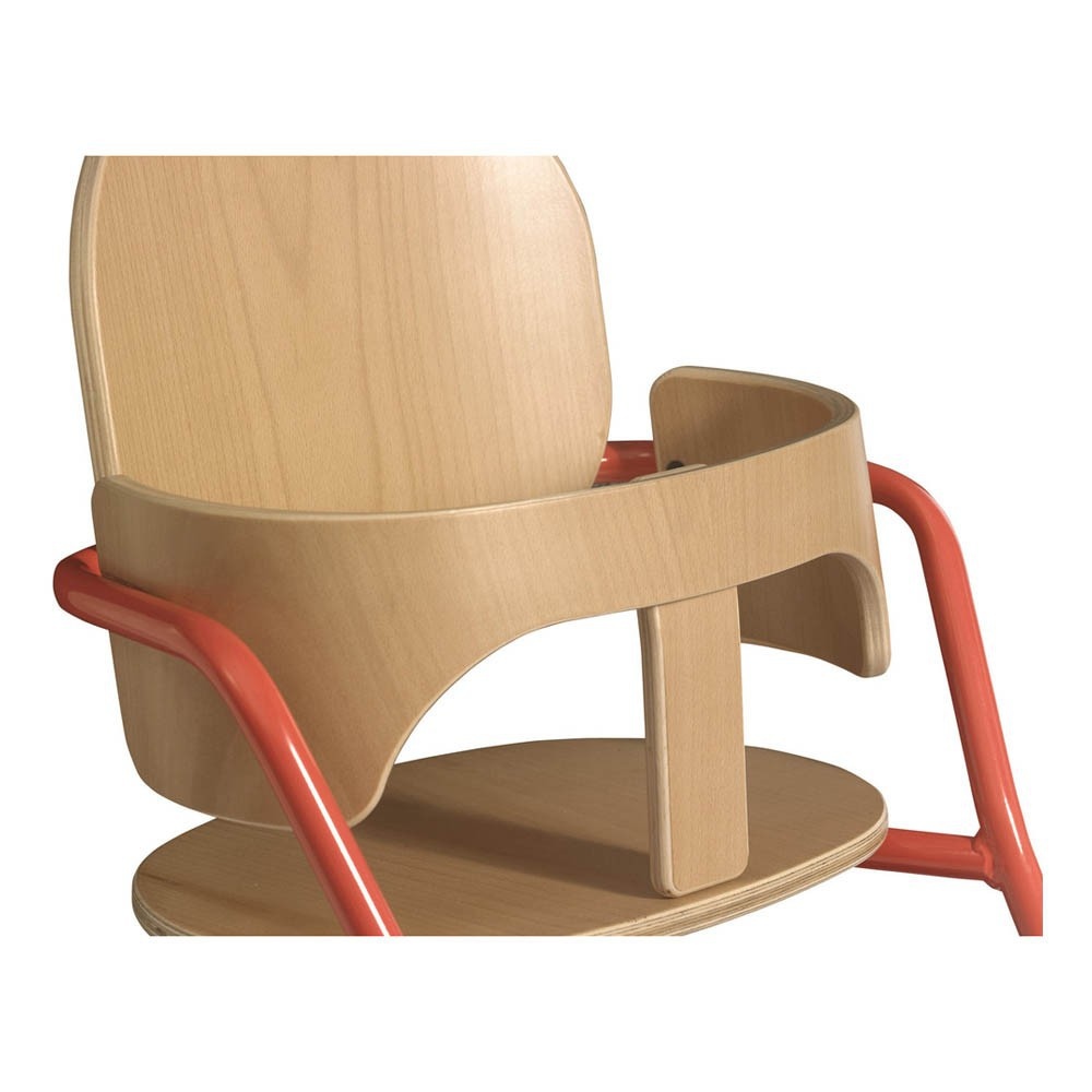 Chaise haute volutive en bois et m tal rouge charlie for Chaise haute en bois evolutive