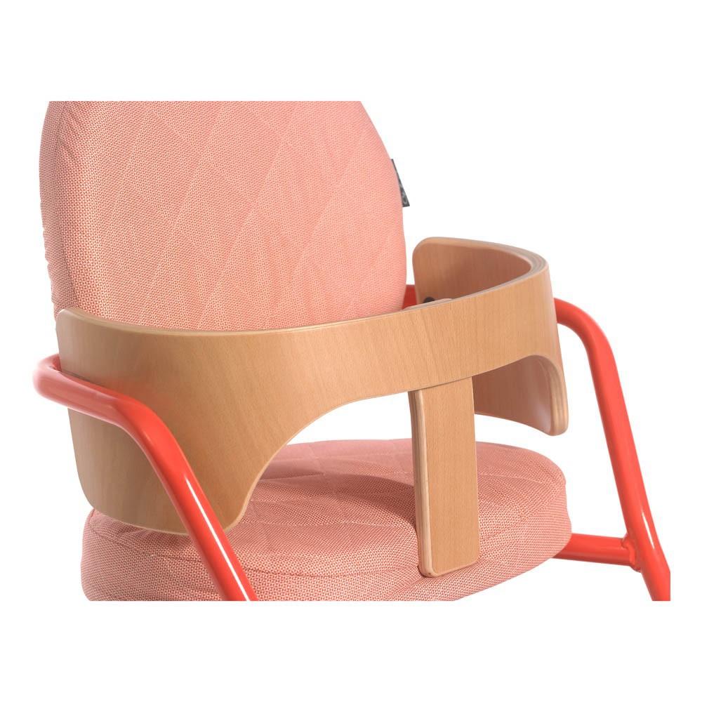 Chaise haute volutive en bois et m tal rouge charlie for Chaise haute bois evolutive