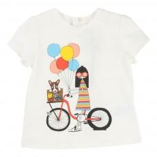 T-Shirt Miss Marc Bicyclette Bébé Blanc