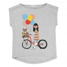 T-Shirt Miss Marc Bicyclette Gris chiné