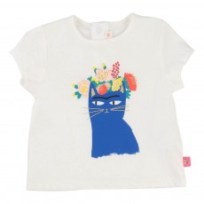 T-Shirt Chat Fleurs Blanc