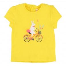 T-Shirt Lapin Bicyclette Jaune