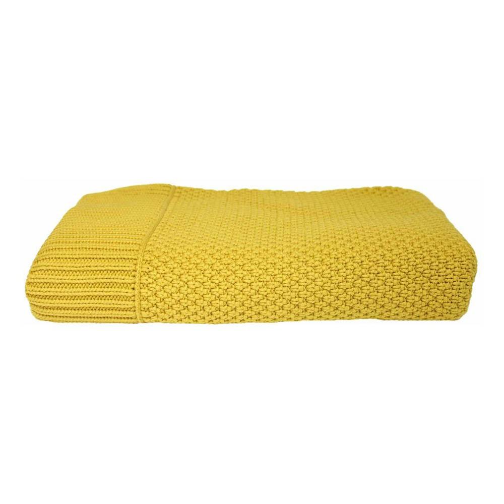 plaid en maille jaune moutarde lab d coration smallable. Black Bedroom Furniture Sets. Home Design Ideas