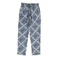 Pantalon Fluide Fleuri Bleu