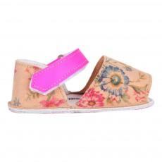 Sandales Cuir Fleurs Frailera Beige