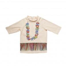 T-Shirt Anti-UV Hawaï Splash Rose pâle