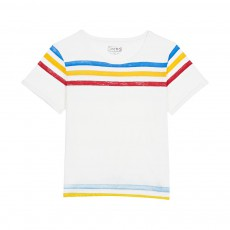 T-shirt Rayures Minimal Blanc