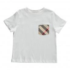 T-Shirt Poche Tartan Blanc