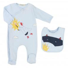 Pyjama   Bavoir Super Héros Bleu pâle