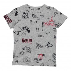 T-Shirt Comics Cats Gris chiné