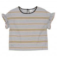 T-Shirt Rayé Volants Giggly Gris chiné