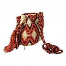 Sac Bandoulière Tissus Imprimé Wayuu Ecru