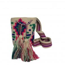 Sac Bandoulière Tissus Fleurs Turquoises Wayuu Ecru