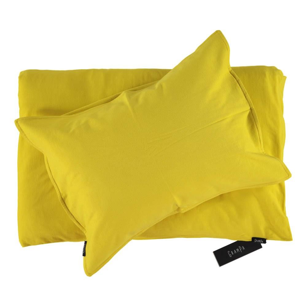 parure de lit en jersey jaune grampa d coration smallable. Black Bedroom Furniture Sets. Home Design Ideas