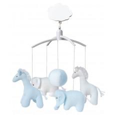 Mobile musical girafe, éléphant Bleu