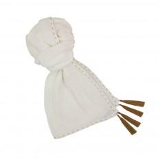 Foulard Pompons 55*160  - Collection Ado et Femme - Blanc