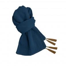 Foulard Pompons 55*160  - Collection Ado et Femme - Bleu marine