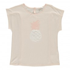 T-Shirt Ananas Broderies Rose pâle