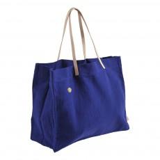 Cabas toile et cuir Lina Bleu indigo