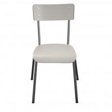 Chaise adulte Suzie - Gris perle/pieds bruts