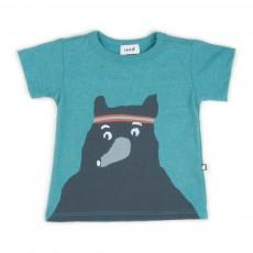 T-shirt Ours Bleu Vert