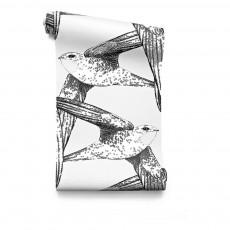 Papier-peint Birds 182x280 cm - 2 lés Blanc