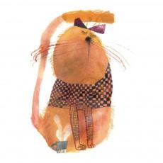 Papier-peint Chat 112x200 cm - Illustration par Beatrice Alemagna Orange