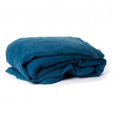 Housse de couette en lin lavé Bleu