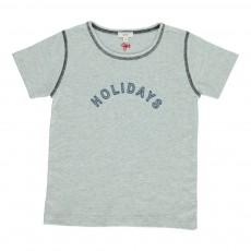 "T-Shirt ""Holidays"" Brodé Gris perle"