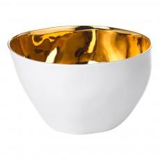 Saladier Grand bol Affamé porcelaine platine Doré