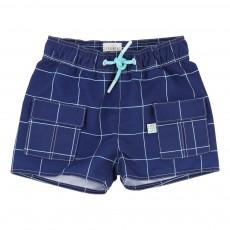 Short De Bain Carreaux Bleu marine