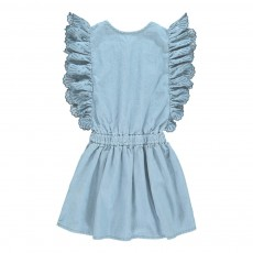 Robe Chambray Volants Jasmina Bleu