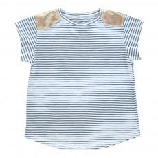 T-Shirt Rayé Epaules Dorées Anaïs Bleu