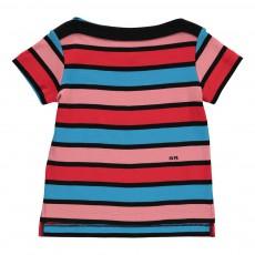 T-Shirt Rayé Col Bateau Rouge