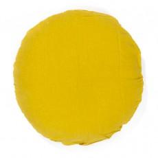 Oreiller rond en lin lavé - 65 cm Jaune moutarde